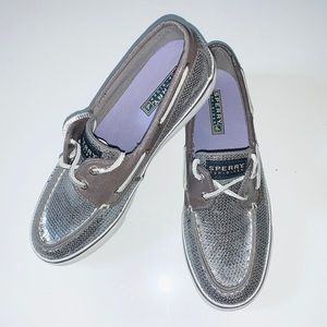 SPERRY TOP SIDER SILVER SEQUIN BOAT SHOE 7.5